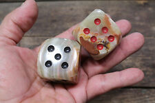 JUMBO DICE MARBLED STONE Medieval Role Play RED BLACK PIPS PAIR New!