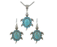 """3-Piece Turquoise TURTLE Neckalce & Earring Set 1.5"""" x 1.25"""" with 22"""" Chain"""