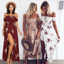 UK Boho Womens Holiday Off Shoulder Floral Maxi Ladies Summer Beach Party Dress