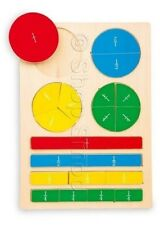 Fraction Expert Puzzle Wooden Jigsaw Maths Kids Childrens Learning Game