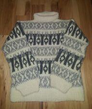 Icelandic Nordic handmade Gray cream Fair Isle chunky knit sweater 42 inch chest