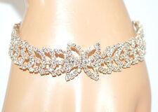 BRACCIALE donna argento strass cristalli rigido sposa elegante cerimonia F100