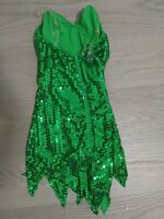 Disney Tinkerbell Halloween Costume Very Rare Size Small Green Scale Sparkles