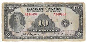 1935 Bank of Canada 10 Dollar Bill