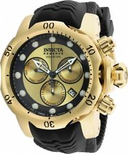 BRAND NEW INVICTA VENOM 90147 GOLD STAINLESS STEEL BLACK RUBBER BAND MEN'S WATCH