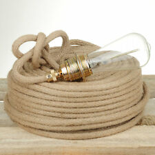 Textilkabel, Faser umflochten, rund, Jute-Seil, ca.10mm, 3x0,75 H03VV