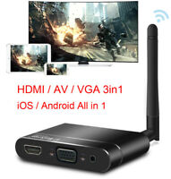 Wireless WiFI HD Stick HDMI VGA AV 3in1 Adapter For iPhone Android Phone to  TV