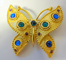 Vintage Signed Trifari Butterfly Insect Gold Tone Cabochon Rhinestone Pin Brooch