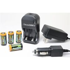Power2000 4 CR123A Lithium Rechargeable Batteries + Rapid Charger 3.7V 1200mAh