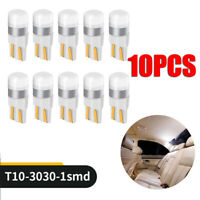 10x T10 LED W5W 194 168 1SMD Car Wedge Tail Parking Plate Light Bulb 12V - WHITE