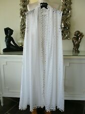 EAST White Cotton Broderie Anglaise Pompom Long Waistcoat Cover Up D38 10 12 NEW