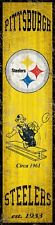 """Pittsburgh Steelers Heritage Banner Retro Logo Wood Sign 6"""" x 24"""" Wall Est 1933"""