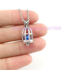 """K938 Bird Cage Beads Pearl Cage Charm Locket Necklace 18"""" Steel Chain"""