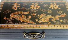 CHESS SET 32 PIECES beautiful  BOX FOLDS INTO BOARD BLACK ancient chinese