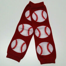 USA SELLER BABY LEG WARMERS, 1 Size Fits All - Red Baseball for Boys or Girls