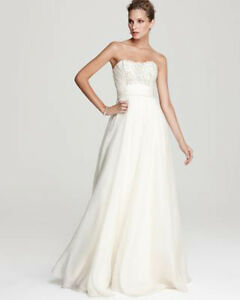 Theia Ivory Silk Embellished Organza Strapless Formal Dress Size 6 NWT $1,000