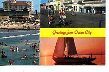 Beach-Sailboat-Boardwalk- Greetings From Ocean City-New Jersey-Vintage Postcard