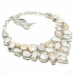 "Biwa Pearl Gemstone Handmade 925 Sterling Silver Jewelry Necklace 18"""