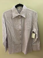 Escada Purple & White Striped Button Up Shirt, Size 40