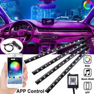 48LED RGB Car Interior Atmosphere Footwell Strip Light USB Charger Decor Lamp UK
