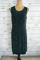 COLDWATER CREEK Black EASY CARE sleeveless sheath dress LEAF print size M