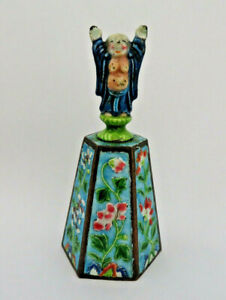 Antique Qing Chinese Enamel Bell ~ Taoist Immortal Figure