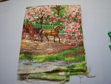 Vintage Horse & Carriage Print Remnant Sewing Arts & Crafts Fabric