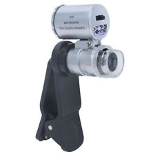 Portable Microscope 60x Magnification Magnifying  Loupe Clamp Phone w/ LED Light
