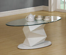 Coffee Table Clear Glass Oval Top White Gloss Edged Frame Living Room Furniture