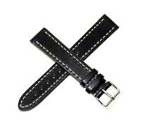 Hadley-Roma 19mm Genuine Leather Watch Band Strap BLACK INOX Swiss Made NEW