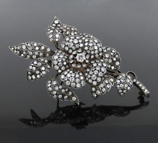 Gold Large Size Flower Brooch Vintage 10.0ct Diamond Silver &