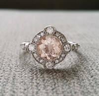 1.80Ct Round Cut Morganite Engagement Wedding Halo Ring 14K White Gold Finish