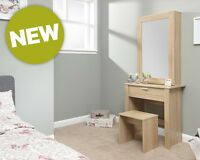 Hobson Dressing Table Full Length Sliding Mirror Set with Matching Stool.