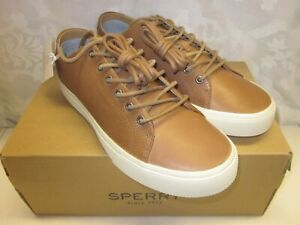 NEW MENS SPERRY TOPSIDER LEATHER STRIPER PLUSHWAVE LTT TAN SIZE12 M STS22186