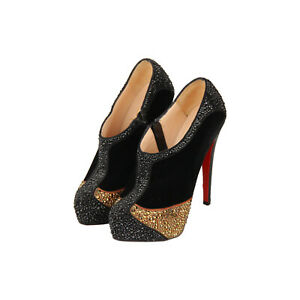 Authentic Christian Louboutin Black Velvet Laelia Strass 140 Ankle Boots Size 36