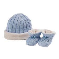 Natures Purest Fur Lined Cable Knit Hat & Booties Set - Blue (0098C)