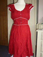Next Red WW2 40s Style Tea Dress- Size 14