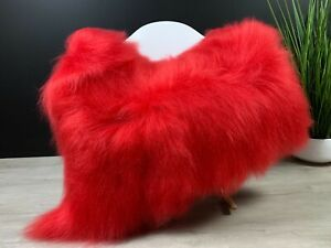 Beautiful Fire Red Icelandic Sheepskin Rug  Genuine Leather Throw Seat Cover