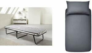 JAY-BE Value Breathable Folding Bed with Single Duvet Cover Set, Dark Grey