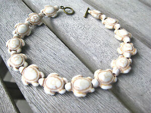 HONU 3 D SEA TURTLES TORTOISE ANKLET STONE White Stone HOWLITE COPPER 9.5 ""