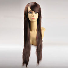 New Long Straight Brown Full Wigs Hair Synthetic Cosplay Party Womens Hair