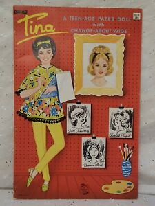VTG 1960's Artcraft Uncut Tina Punch-out Paper Doll Book Change about Wigs