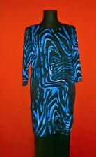 OPHILIA: elegantes Kleid schwarz, Blautöne, weiss Rücken schwarz Gr. 5 (50 - 52)
