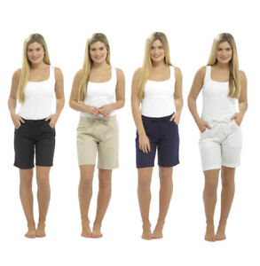 Womens Ladies Linen Casual Shorts with pockets bermuda high waisted white