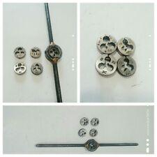 Mini HSS Metric Thread Plugs Taps Dies Wrench Handle Set Screw 6 Pieces Used