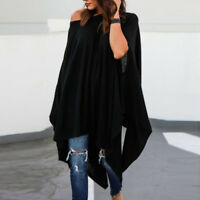 Women Plus Size Slash neck Casual Blouse Irregular Shirt Batwing Sleeve Tops New