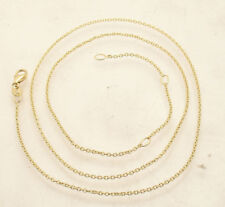 """Adjustable Oval Rolo Cable Chain Necklace Real Solid 14K Yellow Gold 16"""" 17"""" 18"""""""