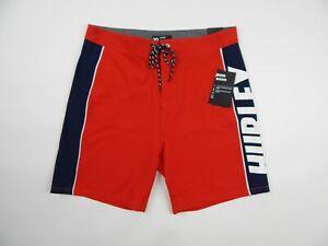 "$58 Hurley Phantom Fastlane 18"" Stretch Boardshorts Red Blue Men's 30 New"