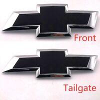 Chrome Black Front Tailgate Bowtie Emblem Badge For 2016-19 Silverado 1500