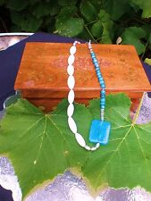"22"" Blue Mother of Pearl, Blue Dragon Vein and White Mother of Pearl Necklace"